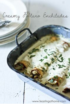 Roasted Poblano Enchiladas with Chicken or Cauliflower are a delicious twist on the traditional. The velvety poblano cream sauce is rich in flavor with a subtle enticing heat. The secret to this sauce is from fire-roasting poblano peppers, which Roasted Poblano Peppers, Stuffed Poblano Peppers, Poblano Chicken, Cilantro Chicken, Pepper Chicken, Chipotle Chicken, Mexican Dishes, Mexican Food Recipes, Ethnic Recipes