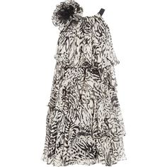 Notte by Marchesa Tiered silk-chiffon dress ($230) ❤ liked on Polyvore featuring dresses, vestidos, marchesa, off white dresses, animal print dress, flower dress, animal print cocktail dress and tiered cocktail dress