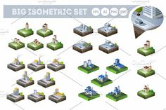 City Bundle Set Graphics This work brings together four different sets, consisting of 25 different isometric plans of cities by Alexzel