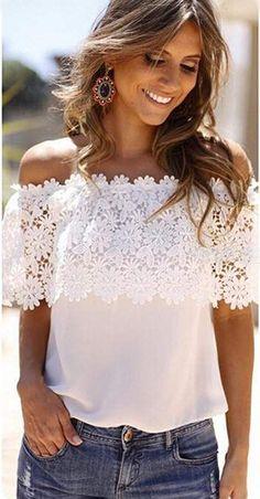 £: Chiffon Lace Blouse Shirts White Blusas New Zanzea 2015 Summer Women Sexy Slash Neck Tops Casual Off Shoulder Plus Size S-XXL Look Fashion, Diy Fashion, Ideias Fashion, Womens Fashion, Hipster Fashion, Floral Chiffon, Chiffon Tops, White Chiffon, Floral Blouse