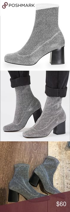 Topshop Glitter Sock Booties Brand new, never worn. Size 38/7.5. One very small blemish on side of heel as shown. Super stretchy material and such a perfect heel! Box not included. Originally $130 Topshop Shoes Ankle Boots & Booties