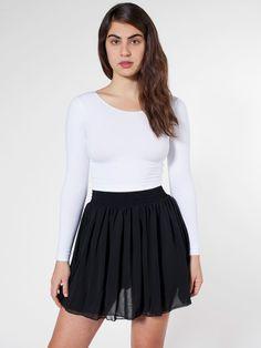 American Apparel - Chiffon Double-Layered Shirred Waist Skirt