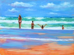 Last Summer.  Oil landscape painting of girls at the beach in Portugal. Artist: Charlotte Partridge