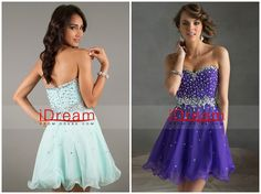 A Line Short Mini Sweetheart Chiffon Rhinestones Various Colors Homecoming Dresses