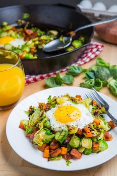 Brussels Sprout Hash with Sweet Potato and Bacon: I made this tonight - oh so good!