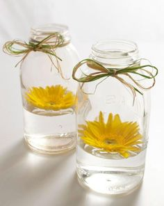 Float a blossom in a mason jar for a pretty/easy centerpiece