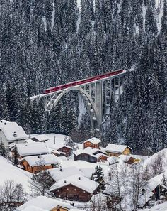 What a beautiful sight and what a train/bridge - Rhätische Bahn on the Viadukt of Langwies, Graubünden, Switzerland by ehutphoto Zermatt, Train Tracks, Train Rides, Places To Travel, Places To See, Places Around The World, Around The Worlds, Glacier Express, Beautiful World