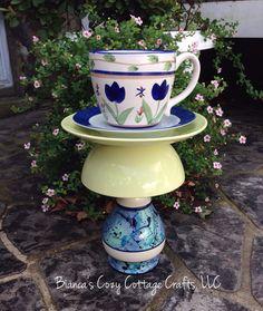Teacup Whimsy, bird bath, bird feeder, garden totem, garden deco, patio decor, upcycled ceramics, garden art, garden whimsy, garden stake