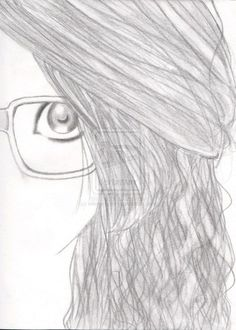 Cute drawing of a girl with glasses easy pencil drawings, love drawings, art drawings Hipster Drawings, Easy Drawings Sketches, Tumblr Drawings, Love Drawings, Colorful Drawings, Art Drawings, Drawing Ideas, Pencil Drawings, Sketch Ideas