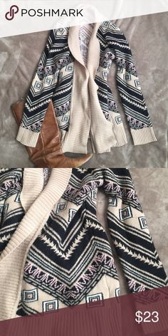 Aztec Cardigan Super comfortable cardigan with tan, black, pink and white colors throughout. Charlotte Russe Sweaters Cardigans