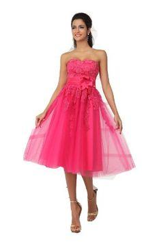 Amazon.com: Winey Bridal Fuchsia Tea Length Prom Dresses Tulle Strapless Homecoming Party: Clothing