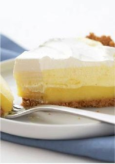 Triple-Layer Lemon Pie – Three layers—fluffy, creamy and cool—come to make this perfect no-bake dessert. It's an easy summer recipe, ready for the refrigerator in just 15 minutes time. Lemon Desserts, No Bake Desserts, Just Desserts, Delicious Desserts, Dessert Recipes, Yummy Food, Lemon Pie Recipe, Lemon Recipes, Baking Recipes