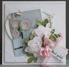 Handmade card by DT member Neline with Craftables Heart Basic Shape (CR1351), Punch Die - Butterflies (CR1354), Creatables Build-a-Rose (LR0398) and Collectables Flower Pot (label) (COL1345) from Marianne Design