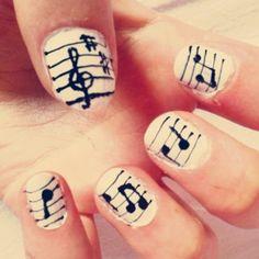 Music Note nail art <3
