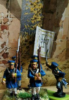 Preußische Landwehr 1813 Befreiungskriege gegen Napoléon - 28 mm Figuren mit Acrylfarben.