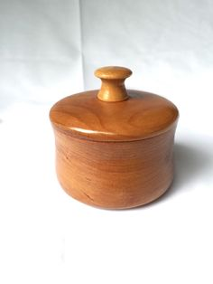 Handmade Small Cherry Trinket Box; hand-turned, round, lidded container; Cherry Wood Cocerdd Bowl by TrailOfThreads on Etsy https://www.etsy.com/listing/231934379/handmade-small-cherry-trinket-box-hand
