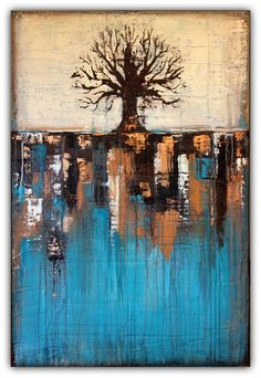 SOLD Abstract Tree in Teal Landscape – Texture Painting – Teal and Brown Home Décor