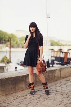 vivienne westwood pirate boots, satchel and black dress - thecherryblossomgirl
