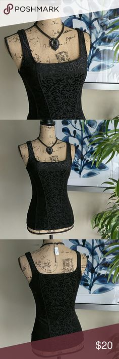 WHBM Sexy Black Velvet Sleeveless Top Size XS White House   Black Market Sexy Corset Like Sleeveless Top. Size XSmall. 23in length. 16in from under arm to under arm. Features beautiful velvet floral design. Fully lined. Form fitting & very stretchy. In awesome condition! Absolutely no stains, Rips, tears, or holes. 49% nylon, 35% polyester, & 16% spandex. Feel free to ask any questions. MAKE ME AN OFFER! FREE GIFT with every purchase! Bundle for further discounts. Girls night out top. Dressy…