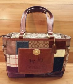 f66c28c27e27 COACH Limited Edition Signature Leather Suede Patchwork Handbag Purse Tote  11358 in Clothing