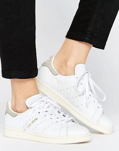 These white and grey Stan Smith #Adidas originals will complete your #summer look! Pair with a grey tee and light wash jean's for a great casual look. For more sizes, check the affiliate link!