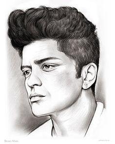 Drawing - Bruno Mars by Greg Joens