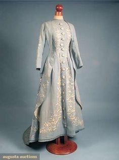 Embroidered blue wool morning gown, 1870s