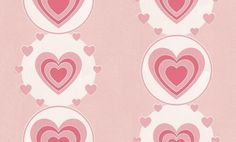 Wowee! (1726-17) - Albany Wallpapers - Pretty in pink – a sweet textured vinyl panel design with large scale hearts within hearts and circles, in white and sugar pink shades. Please ask for sample for true colour match.