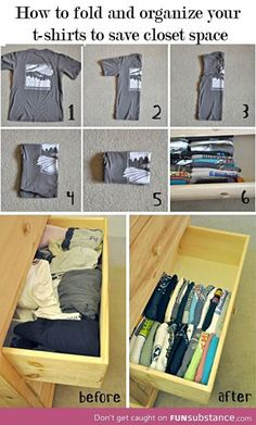 Folding clothes for small dorm room drawers