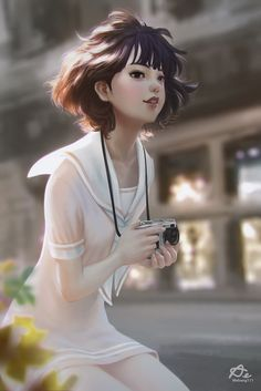 Anime picture with original single tall image blush looking at viewer open mouth brown hair smile holding black eyes ahoge signed lips wind sunlight realistic outdoors nose blurry Digital Art Girl, Digital Portrait, Portrait Art, Digital Art Anime, Anime Art Girl, Manga Girl, Art Japonais, Beautiful Anime Girl, Illustration Girl