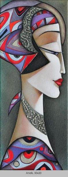 Wlad Safronow - From his Secession series of Paintings: Title of this is 'Anaïs' size: 50x20 ✿≻⊰❤⊱≺✿