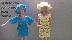 vestido con sombrero crochet para barbie norma y sus tejidos norma y sus tejidos - YouTube