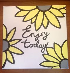 Custom canvas quote to brighten any room, colors are customizable. Very bright and happy