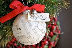 Super Single Mom and Her Side Kids: Vintage sheet music christmas ornament {tutorial}