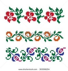 Collection of colorful decorative flowers. Small Cross Stitch, Cross Stitch Borders, Cross Stitch Charts, Cross Stitch Patterns, Mexican Pattern, Palestinian Embroidery, Flower Decorations, Embroidery Designs, Needlework