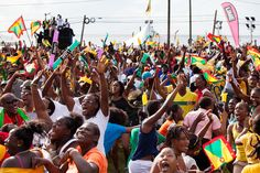 The scene in Grenada as they country won it's first ever Olympic medal, a gold one.