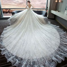 Luxury / Gorgeous Ivory Wedding Dresses 2018 Ball Gown V-Neck Short Sleeve Backless Glitter Tulle Beading Royal Train Ruffle Luxury Wedding Dress, Wedding Dresses 2018, Wedding Dresses Plus Size, Princess Wedding Dresses, Bridal Dresses, Bridesmaid Dresses, Ivory Wedding, Glitter Wedding, Backless Wedding
