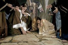 He That is Without Sin by Liz Lemon Swindle is a Christian art piece that depicts the adulteress receiving forgiveness from Jesus. Lds Art, Bible Art, Bible Scriptures, Scripture Study, Chichester, Arte Lds, Liz Lemon Swindle, Cast The First Stone, Pictures Of Christ