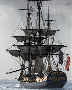 """""""L'HERMIONE"""" is a Concorde Class 32 Gun French Frigate (Replica) Building Started in 1997 and was Launched 6 July 2012 Hermione, Bateau Pirate, Old Sailing Ships, Full Sail, Ship Of The Line, Ship Drawing, Wooden Ship, Navy Ships, Ship Art"""