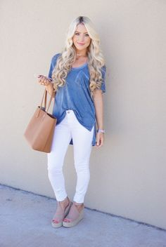 cute spring and summer outfit- flow tee, white jeans and wedges // A Touch of Pink Blog