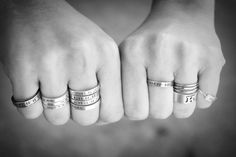 Would love with the kids' names/birth dates…...Personalized silver stamped stacking rings by monkeysalwayslook