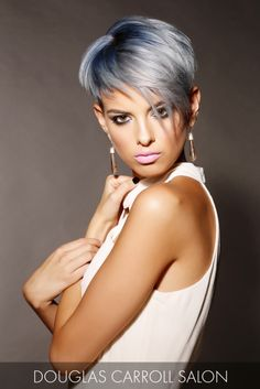 Feeling blue? This pixie is the perfect pick-me-up with a stunning deep blue hue at the roots that beautifully transcends into cool, icy tips.