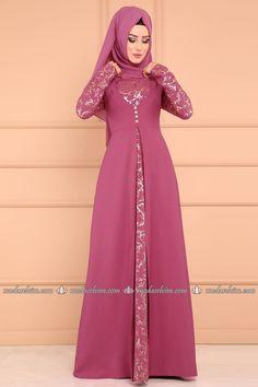 Hırka Görünümlü Abiye ASM2070-S Gül Kurusu Hijab Fashion Summer, Abaya Fashion, Muslim Fashion, Hijab Evening Dress, Long Gown Dress, Simple Gowns, Abaya Designs, Dress Neck Designs, Muslim Dress