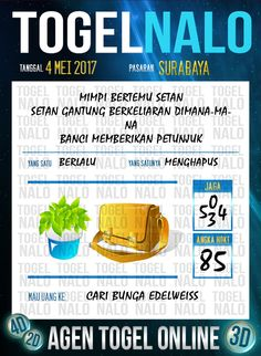 Kode Paito 6D Togel Wap Online TogelNalo Surabaya 4 Mei 2017