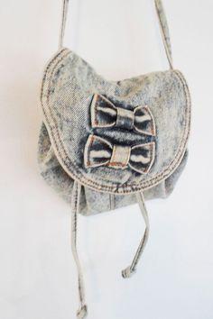 ACID WASH DENIM vintage 80s small drawstring long strap bows shoulder bag on Etsy, $9.99