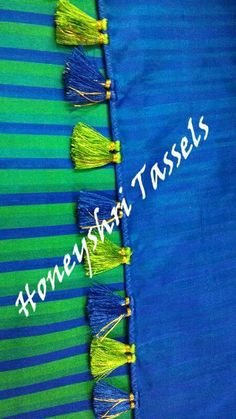 Saree Tassels Designs, Saree Kuchu Designs, Saree Blouse Neck Designs, Simple Blouse Designs, Kutch Work, Saree Border, Passementerie, Sewing Stitches, Saree Dress
