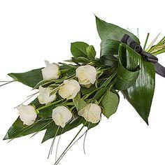 Elegant White Rose Sheaf - delivered next day Rosen Arrangements, White Flower Arrangements, Funeral Flower Arrangements, Funeral Bouquet, Funeral Flowers, White Roses, White Flowers, Square Wreath, International Flower Delivery