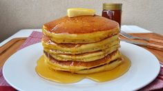 **PLEASE READ** use 3 teaspoons of baking powder, not 3 tablespoons. It's a mistake in video editing! Learn how to make fluffy American pancakes at home. The...