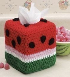 Crochet Gift Design Watermelon Tissue BOx Cover free crochet pattern - 10 Free Crochet TIssue Box… - Not only do these crochet tissue box cover patterns make your Kleenexes look cute, it's a great way to dress up your home, Especially with allergy season! Crochet Home, Crochet Gifts, Free Crochet, Crochet Teacher Gifts, Tissue Box Crafts, Plastic Canvas Tissue Boxes, Crochet Toilet Roll Cover, Watermelon Crafts, Watermelon Patch