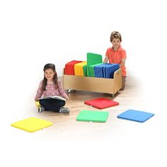 Rainbow Square Cushions and Trolley - Brightly coloured soft square cushions recommended for floor seating, reading activities and group placement.
